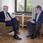 Michael Maier im Interview mit dem GeneralsekretärThorbjörn Jagland für die Deutschen Wirtschafts Nachrichten